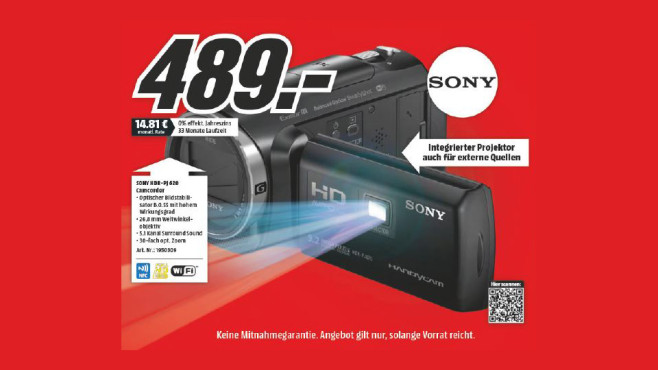 Sony HDR-PJ620 ©Media Markt