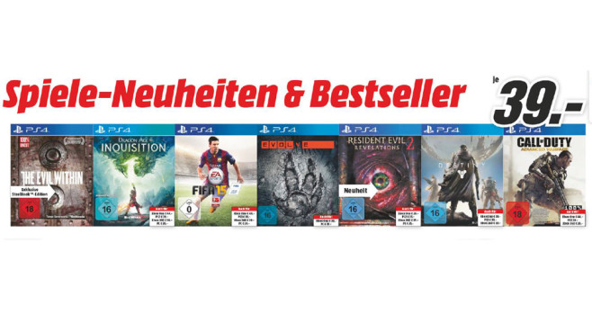Verschiedenen PlayStation-4-Spiele ©Media Markt