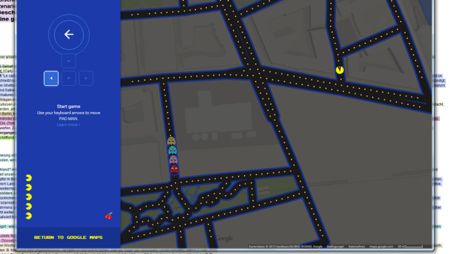 Pacman in Google Maps © Google Maps
