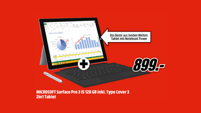 Microsoft Surface Pro 3 i5 128GB + Tastatur ©Media Markt