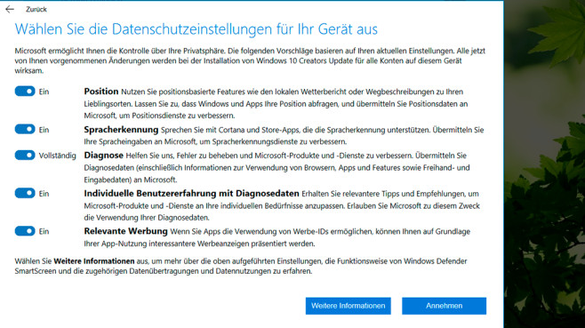 Windows 10 Creators Update © COMPUTER BILD