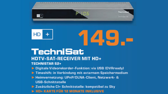 TechniSat TechniStar S2+ mit HD+ Smartcard ©Saturn