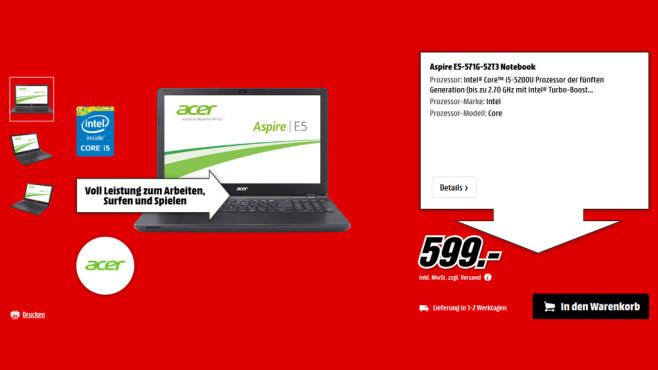Acer Aspire E5-571G-52T3 ©Media Markt