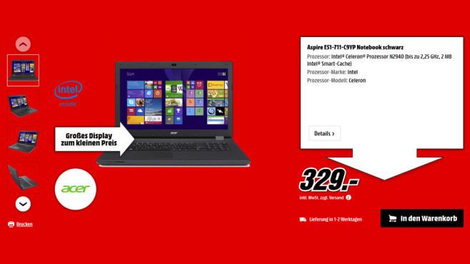 Acer Aspire ES1-711-C9YP ©Media Markt