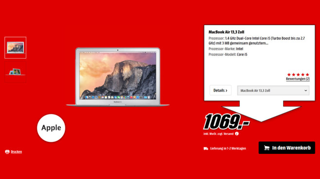 "Apple MacBook Air 13"" © Media Markt"