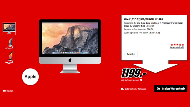 Apple iMac 21.5'' (ME086D/A) © Media Markt