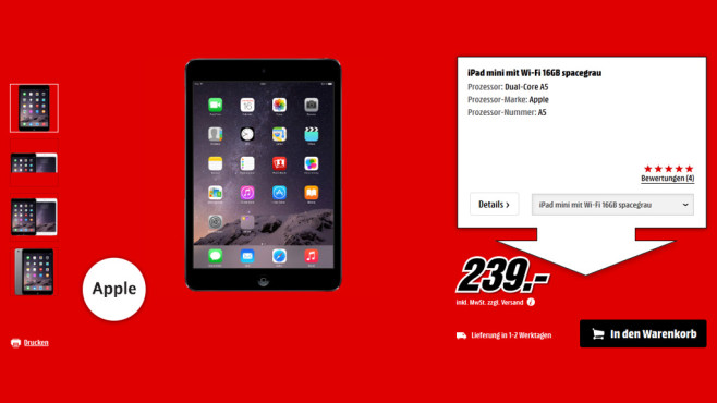 Apple iPad mini 16GB WiFi spacegrau © Media Markt