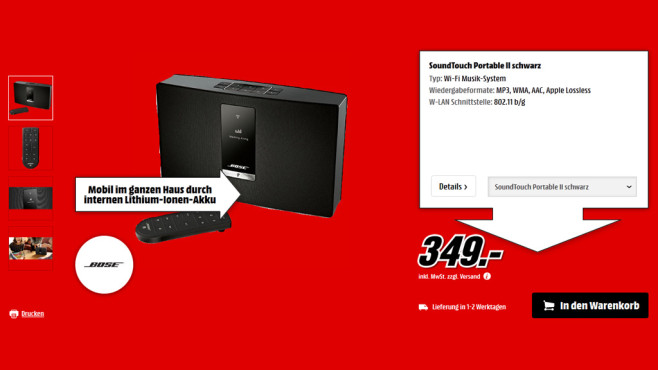 Bose Soundtouch Portable Serie II © Media Markt