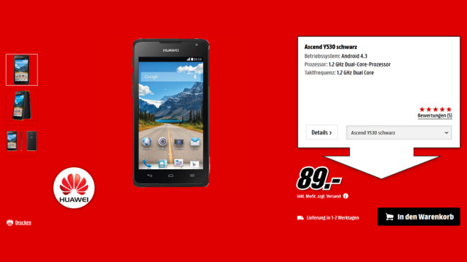 Huawei Ascend Y530 © Media Markt