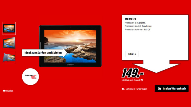 Lenovo IdeaTab A7600 ©Media Markt