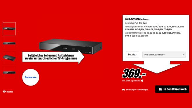 Panasonic DMR-BCT740 ©Media Markt