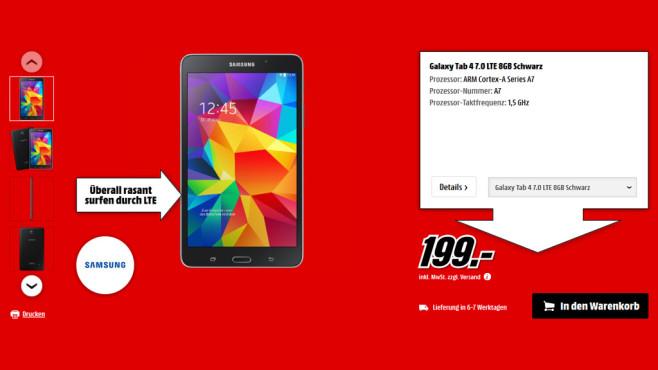 Samsung Galaxy Tab 4 (7.0) 8GB LTE ©Media Markt