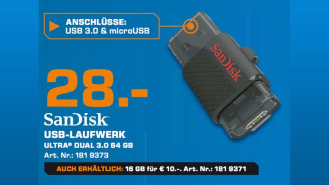 Sandisk Ultra Dual USB Drive 64GB ©Saturn