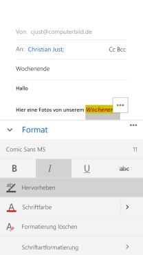 Outlook-E-Mail-Editor: Word light (1/3) © COMPUTER BILD