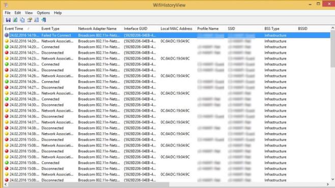 WifiHistoryView: Alle jeweils verbundenen Hotspots zeigen ©COMPUTER BILD