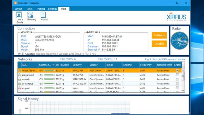 Xirrus Wi-Fi Inspector: Optisch ansprechendes Analyse-Werkzeug ©COMPUTER BILD