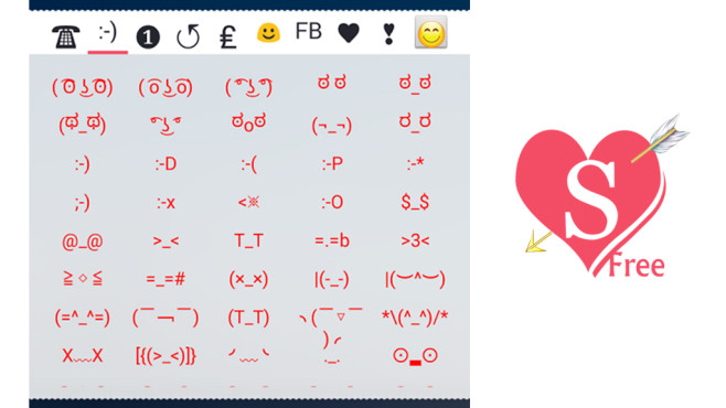 CoolSymbols emoticon emoji für Android © Small-world Co., Ltd.