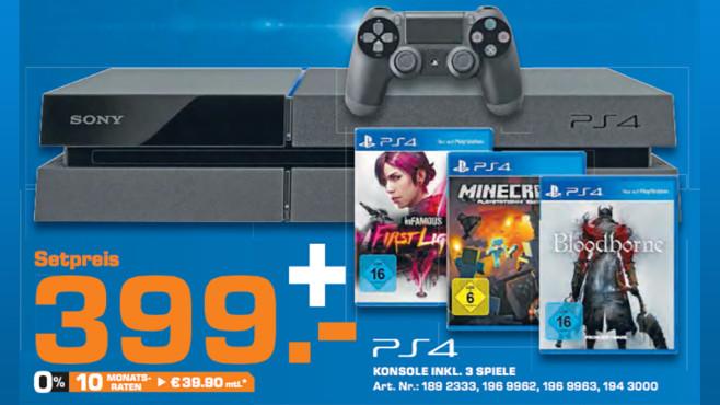PlayStation 4 inkl. drei Spiele ©Saturn
