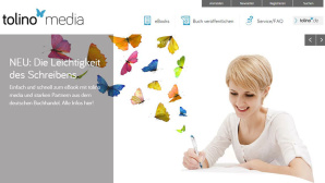 Bunte Schmetterlinge und viel weiß: Das ist die Selfpublishing-Plattform Tolino Media ©Screenshot Tolino Media