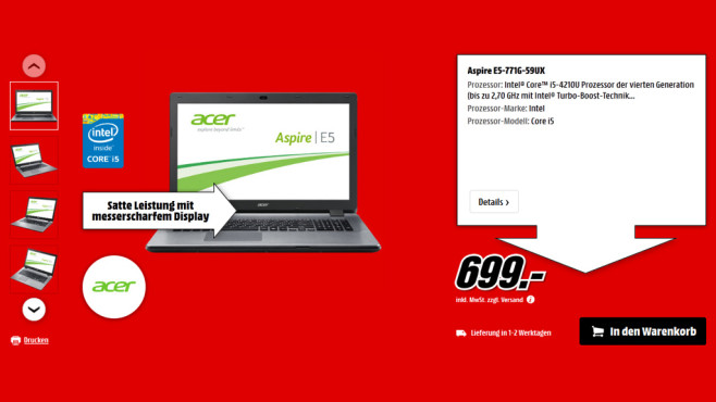 Acer Aspire E5-771G-59UX © Saturn