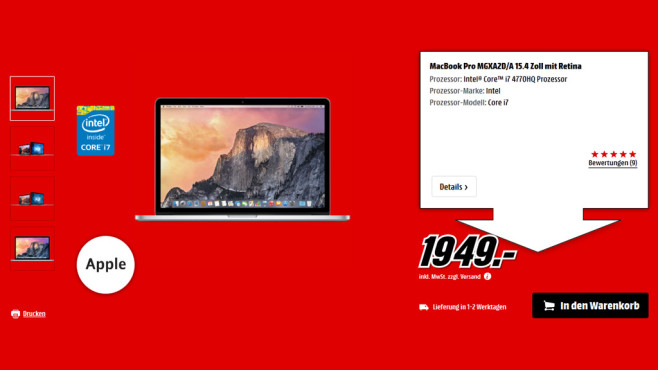 "Apple MacBook Pro 15"" Retina 2014 © Saturn"