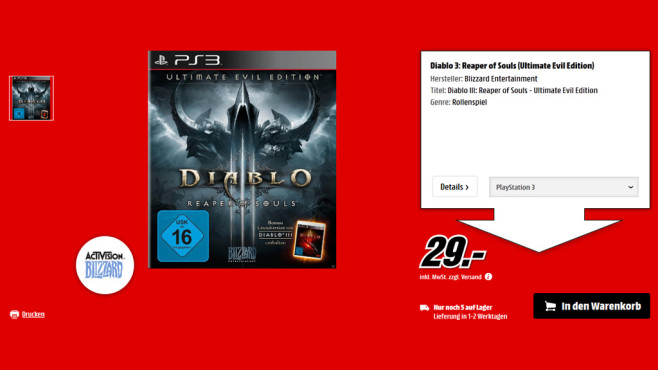 Diablo 3: Reaper of Souls - Ultimate Evil Edition (PS3) © Saturn