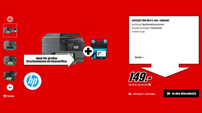 HP Officejet Pro 8615 + Patrone © Saturn