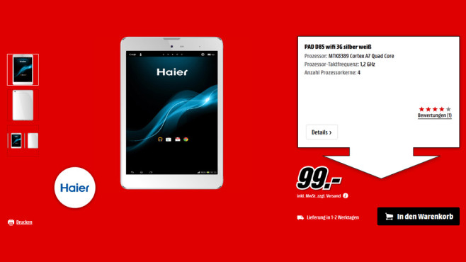 Haier Mini Pad D85 © Saturn