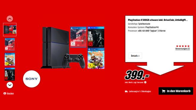 PlayStation 4 + drei Spiele ©Saturn