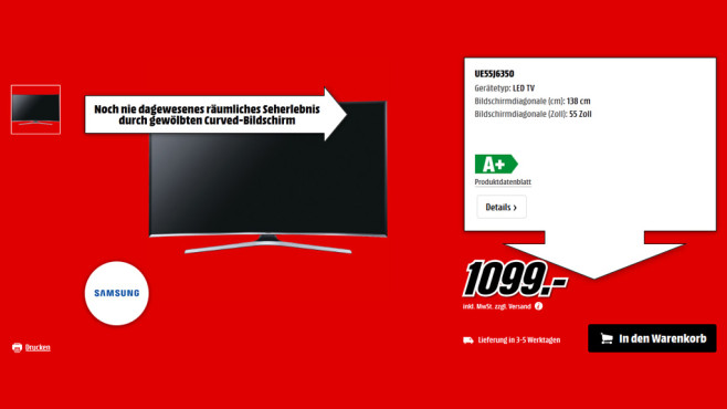 Samsung UE55J6350 ©Saturn