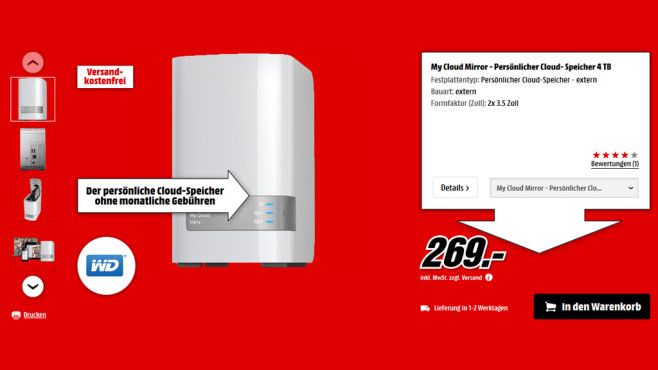 Western Digital My Cloud Mirror 4TB © Saturn