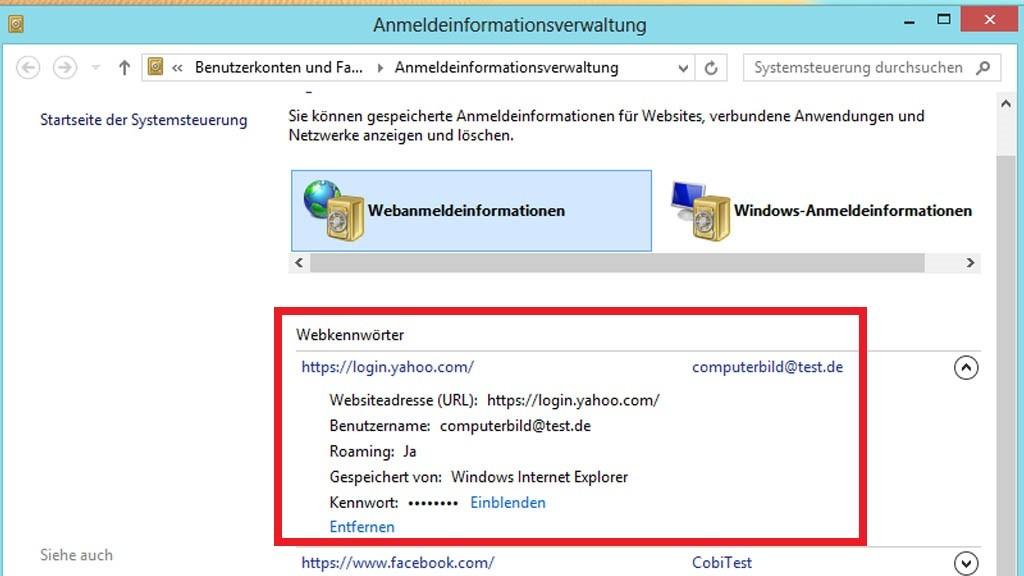 passwort gespeichert internet explorer