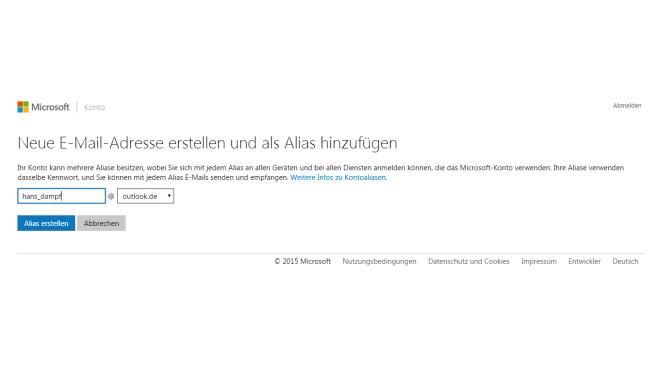 Alias-Adresse erstellen ©Microsoft