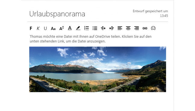 Gro�e Dateien mit OneDrive verschicken ©Microsoft
