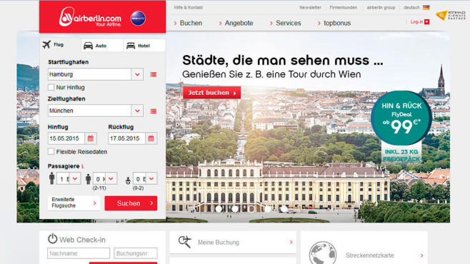 Internetseite von Air Berlin © Screenshot: airberlin.com