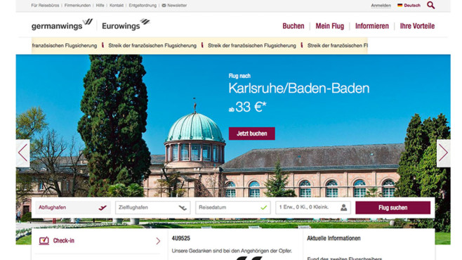 Online-Portal von Germanwings © Screenshot: germanwings.com