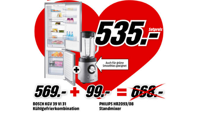 Bosch KGV39VL31S + Philips R2093/00 ©Media Markt