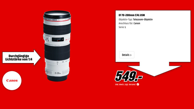 Canon EF 70-200mm f4.0 L USM ©Media Markt