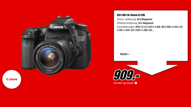 Canon EOS 70D Kit 18-55 mm © Media Markt