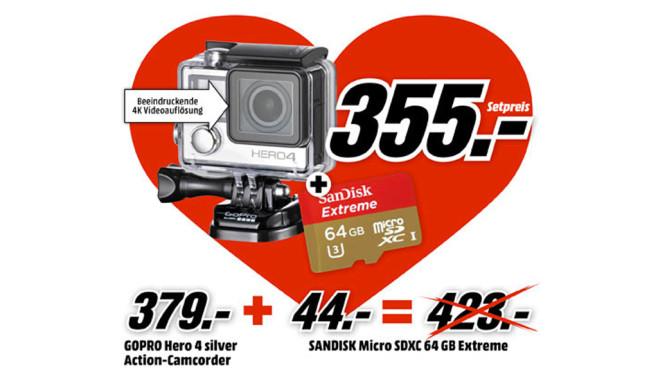 GoPro HERO 4 Silver + Sandisk microSDXC 64GB ©Media Markt