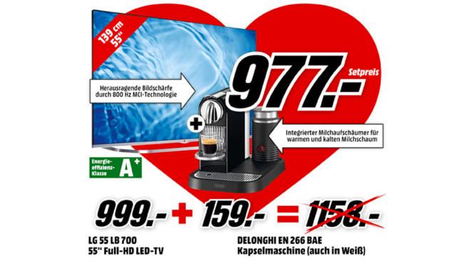LG 55LB700V + DeLonghi EN 266.BAE ©Media Markt