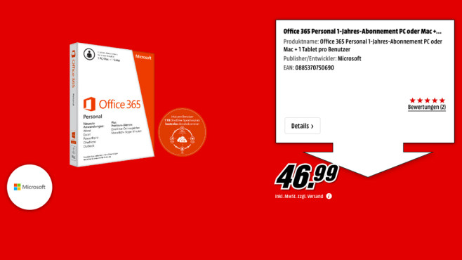 Microsoft Office 365 Personal (1 User) (Win/Mac) © Media Markt