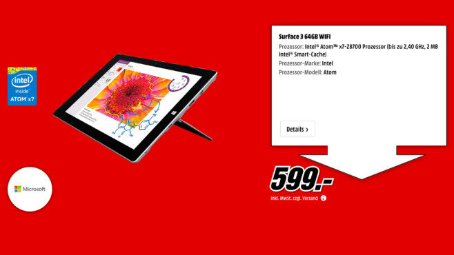 Microsoft Surface 3 64GB WiFi © Media Markt