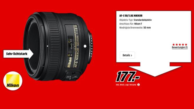 Nikon AF-S Nikkor 50mm f1.8 G ©Media Markt