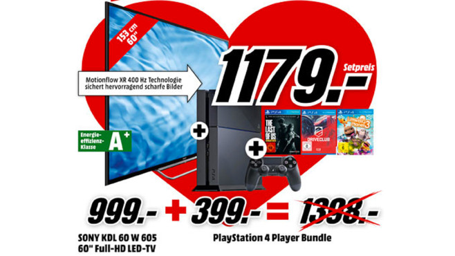 Sony KDL-60W605B + Sony PlayStation 4 Player Bundle ©Media Markt