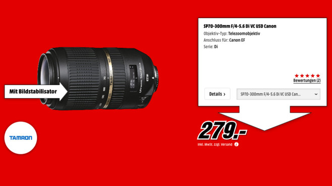 Tamron SP AF 70-300mm f4.0-5.6 Di VC USD [Canon] © Media Markt
