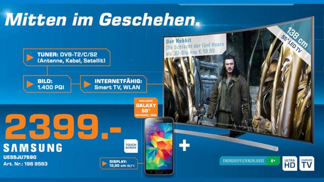 Samsung UE55JU7500T + Galaxy S5 ©Saturn