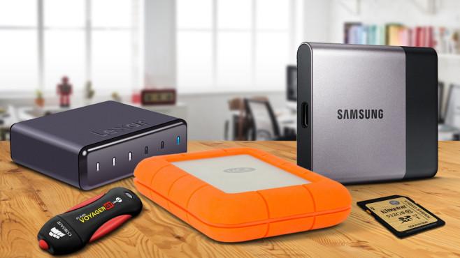 Externe Speicher für alle Fälle ©Rawpixel.com – Fotolia.com, maho – Fotolia.com, Samsung, Lexar, Corsair, LaCie, Kingston