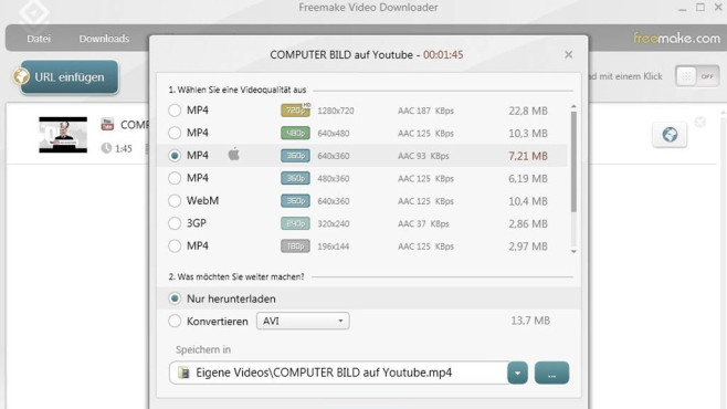 Platz 47: Freemake Video Downloader (neu) © COMPUTER BILD