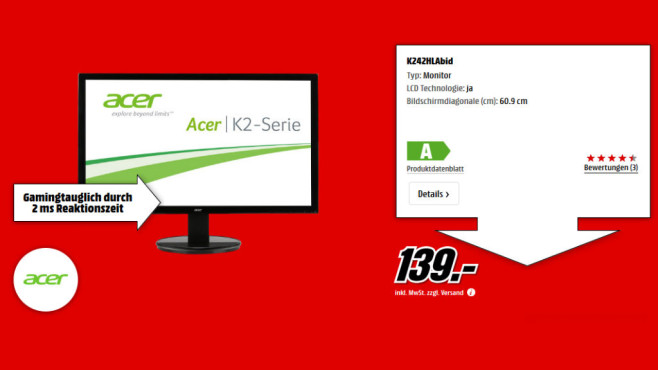 Acer K242HLAbid (UM.FW2EE.A01) ©Media Markt